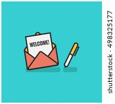 'welcome' written inside an... | Shutterstock .eps vector #498325177