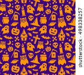 halloween seamless pattern in... | Shutterstock . vector #498338257