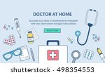 doctor at home concept banner.... | Shutterstock . vector #498354553