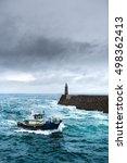 fishing vessel under storm... | Shutterstock . vector #498362413