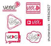 Vlog or video blogging or video channel buttons set. Vector illustration. youtube Flat Social Media Background Sign Download. Play Vector Logo