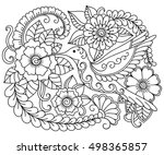 doodle pattern in black and... | Shutterstock .eps vector #498365857
