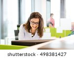 smiling young businesswoman... | Shutterstock . vector #498381427