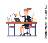 business woman sitting at the... | Shutterstock .eps vector #498385567