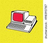 old personal computer. vector... | Shutterstock .eps vector #498393787