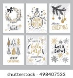 Christmas hand drawn cards with Christmas trees, snowman, snowflakes, fir branch, balls and wreath. Vector illustration. | Shutterstock vector #498407533
