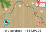 christmas decorations on wooden ... | Shutterstock .eps vector #498429103