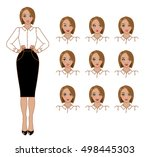 set of emotions. vector cartoon ... | Shutterstock .eps vector #498445303