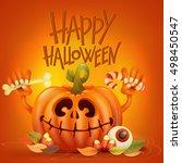 funny pumpkin character on... | Shutterstock .eps vector #498450547