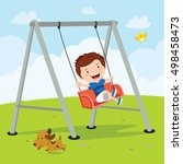 little boy on a swing | Shutterstock .eps vector #498458473