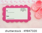 a postcard with a baby booties... | Shutterstock . vector #49847320