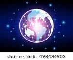 vector globe on the digital... | Shutterstock .eps vector #498484903
