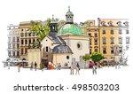 the town square in krakow....   Shutterstock .eps vector #498503203
