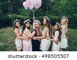 girlfriends and bride celebrate ... | Shutterstock . vector #498505507