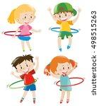 Children Playing Hula Hoops...