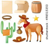 western theme with horse and... | Shutterstock .eps vector #498515353