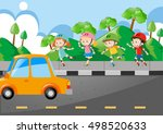 children rollerskate on the... | Shutterstock .eps vector #498520633