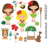 hawaii girl vector cartoon... | Shutterstock .eps vector #498532327