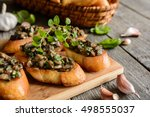 fried baguette slices with... | Shutterstock . vector #498555037