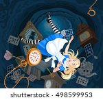 Stock vector alice is falling down into the rabbit hole 498599953