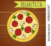 vegan pizza on wooden table....