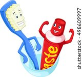 toothbrush and toothpaste in a... | Shutterstock .eps vector #498609997