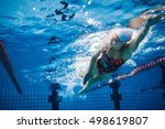 underwater shot of fit swimmer... | Shutterstock . vector #498619807