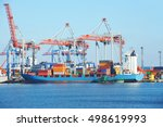 container stack and ship under... | Shutterstock . vector #498619993