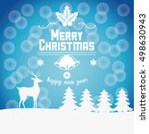 reindeer and pine tree of...   Shutterstock .eps vector #498630943