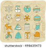 vector illustration   doodle... | Shutterstock .eps vector #498635473