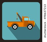 car towing truck icon in flat... | Shutterstock . vector #498637213