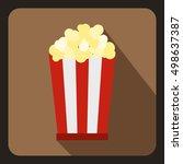 popcorn in striped bucket icon... | Shutterstock . vector #498637387