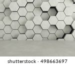 floor and hexagons concrete... | Shutterstock . vector #498663697