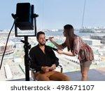 female makeup artist at work at ... | Shutterstock . vector #498671107