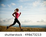 runner   woman runs cros... | Shutterstock . vector #498673213