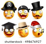 smiley face vector set of funny ... | Shutterstock .eps vector #498676927