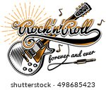 rock and roll guitar music... | Shutterstock .eps vector #498685423