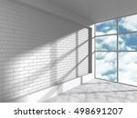 white loft room with brick wall ... | Shutterstock . vector #498691207