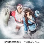 santa and snow girl new year's... | Shutterstock . vector #498692713