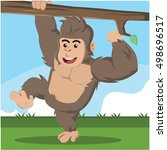 Gorilla Climbing Branch Vector...