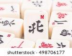 mahjong board game pieces in... | Shutterstock . vector #498706177