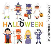 cute colorful halloween kids set | Shutterstock .eps vector #498716317