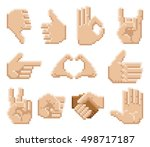 a set of 8 bit pixel art hand... | Shutterstock .eps vector #498717187