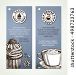 cafe menu with hand drawn... | Shutterstock .eps vector #498723763