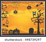 halloween theme with trees ... | Shutterstock .eps vector #498739297
