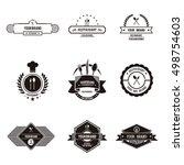 flat and plain restaurant logo... | Shutterstock .eps vector #498754603