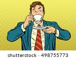 businessman drinking cup of... | Shutterstock .eps vector #498755773