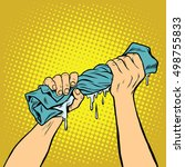 retro hands squeezed the wash... | Shutterstock .eps vector #498755833