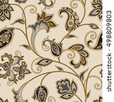 flourish tiled pattern. floral... | Shutterstock .eps vector #498809803