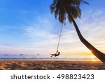 young happy woman relaxing on a ... | Shutterstock . vector #498823423